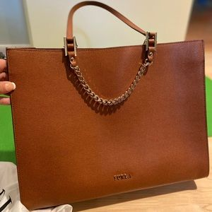 Furla brown with gold chain tote